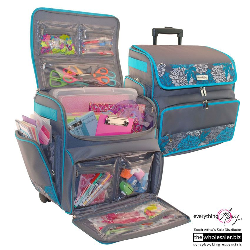 Everything Mary - Blue Rolling  Scrapbook    Crafts Tote   Essential ... 6bcfb52b3a