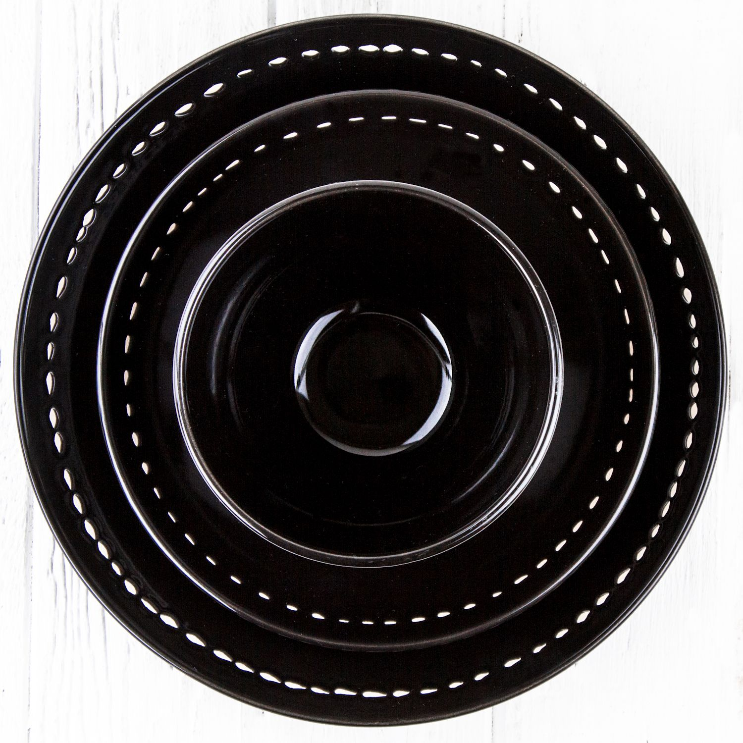 Black Ceramic Alfa Dinnerware - DISHWARE - DINING + KITCHEN