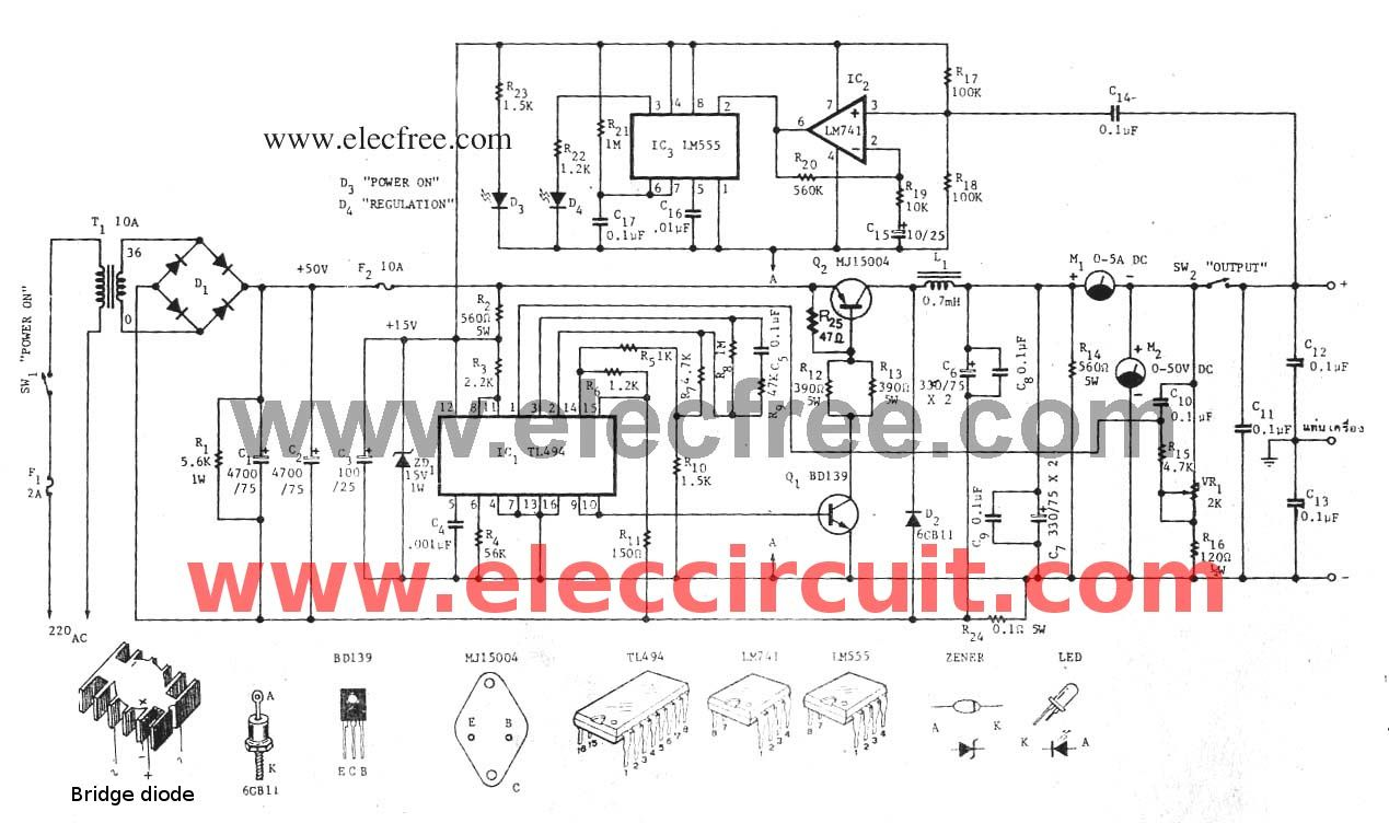 Variable Switch Mode Power Supply Circuit 0 50v At 5a Eleccircuit Com Power Supply Circuit Switched Mode Power Supply Power Supply