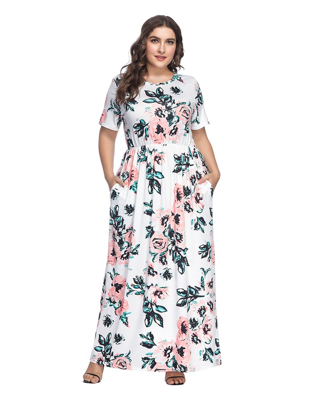 Fitted White Flower Pattern Large Maxi Dress Short Sleeves Comfort