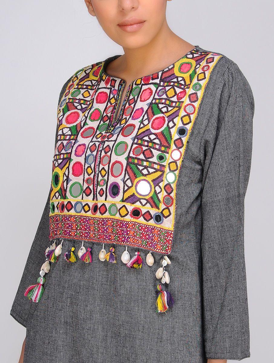 Buy grey handloom cotton kurta with vintage yoke by jaypore online