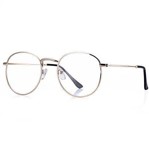 4041e4c27234 Pro Acme Classic Round Metal Clear Lens Glasses Frame Unisex Circle  Eyeglasses (Gold)