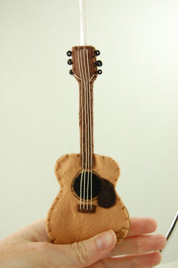 Personalized Acoustic Guitar Felt Ornament Made To Order Felt Christmas Ornaments How To Make Ornaments Felt Ornaments