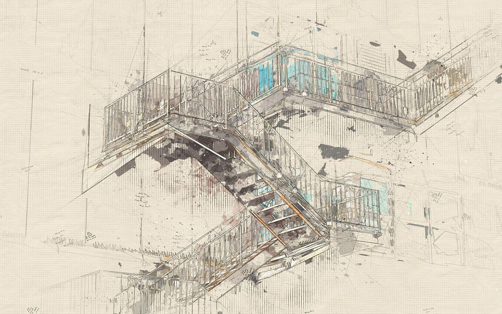 Architecture Sketch Tools Architectum 2 Photoshop Action Aff