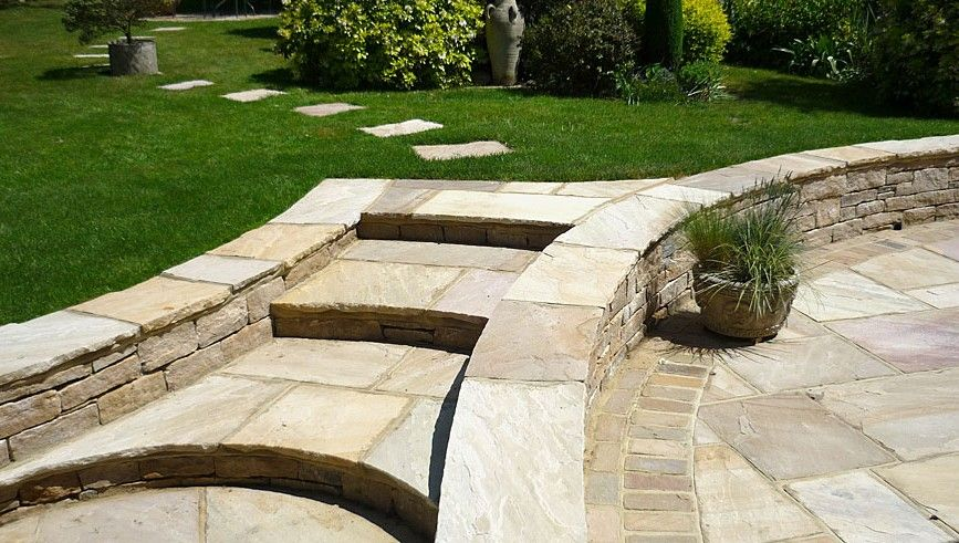 Image result for steps from patio to lawn Stepped garden
