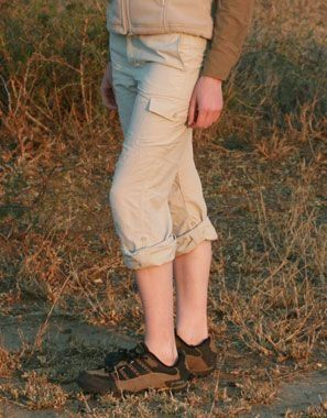 Women's Cargo Safari Trousers: 'Prefer trousers that do not zip off? These lightweight cargo trousers have a comfortable low hip cut, and roll up leg tabs (converts trousers to cool capri's)'
