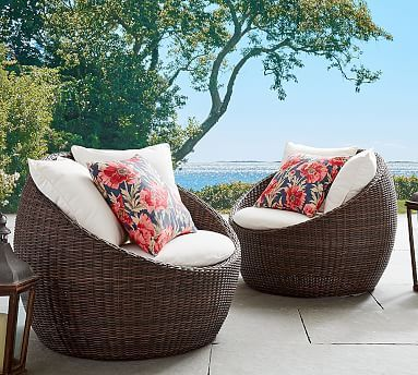 Torrey All Weather Wicker Papasan Chair Espresso Potterybarn Outdoor Furniture Chairs Outdoor Chairs Outdoor Furniture