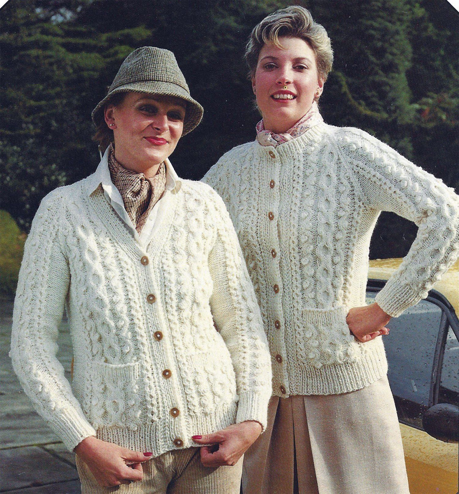 Digital Download PDF Vintage Knitting Pattern C277 Toddlers and Girls Cute Aran Tunic with Decorative Lower Edge