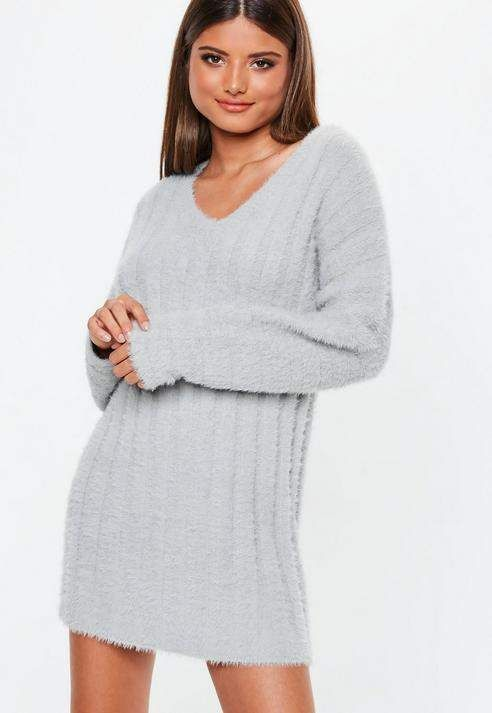 50b6ec49d Missguided Grey V Neck Fluffy Ribbed Knit Sweater