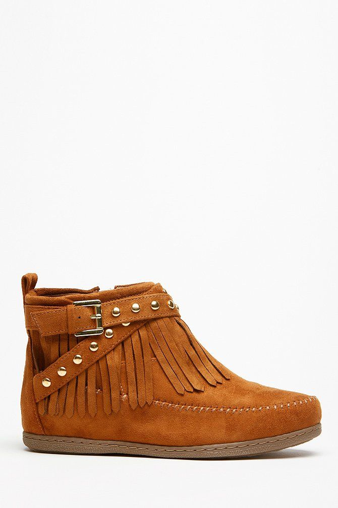 Soda Fringe Gold Accent Tan Moccasin Ankle Boots @ Cicihot Boots Catalog:women's winter boots,leather thigh high boots,black platform knee high boots,over the knee boots,Go Go boots,cowgirl boots,gladiator boots,womens dress boots,skirt boots. on Wanelo