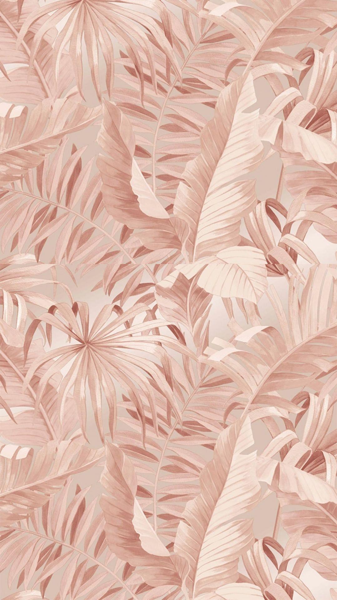 Palma Tropical Wallpaper Blush Gold Wallpaper Background Tropical Wallpaper Rose Gold Wallpaper