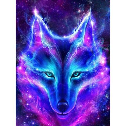 5d Diy Diamond Painting Blue Flame Fantasy Wolf Craft Kit In 2020 Wolf Craft Fantasy Wolf Watercolor Wolf