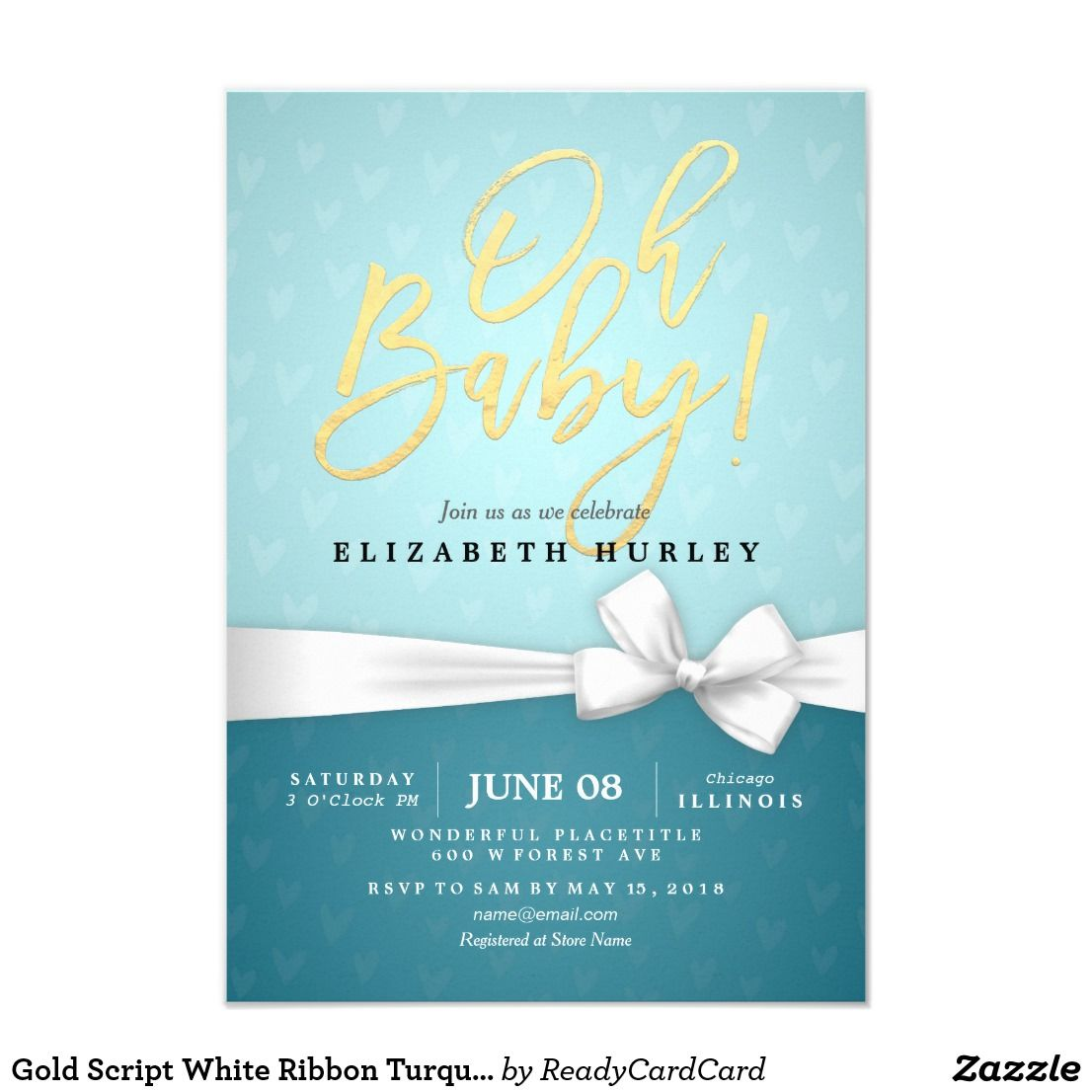 Gold Script White Ribbon Turquoise Baby Shower Card  Turquoise