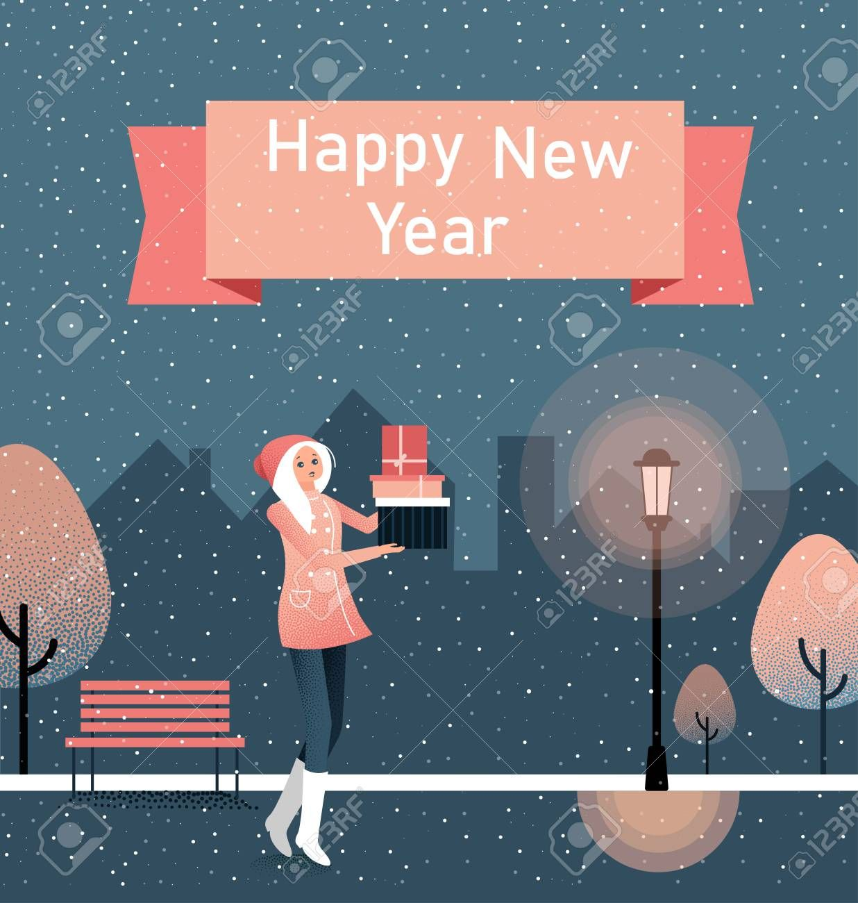 Happy New Year greeting card with girl with gifts. Winter ...