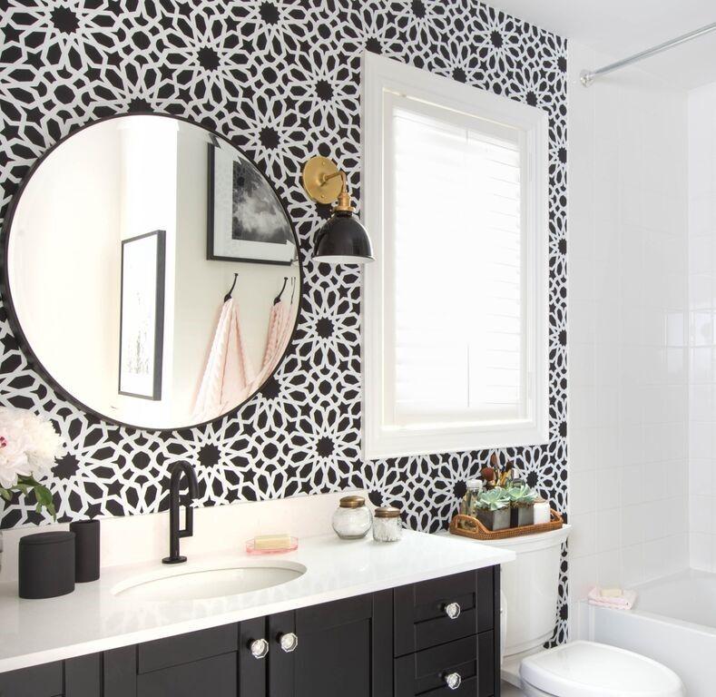 black bathroom vanity with white quartz countertop bathroom