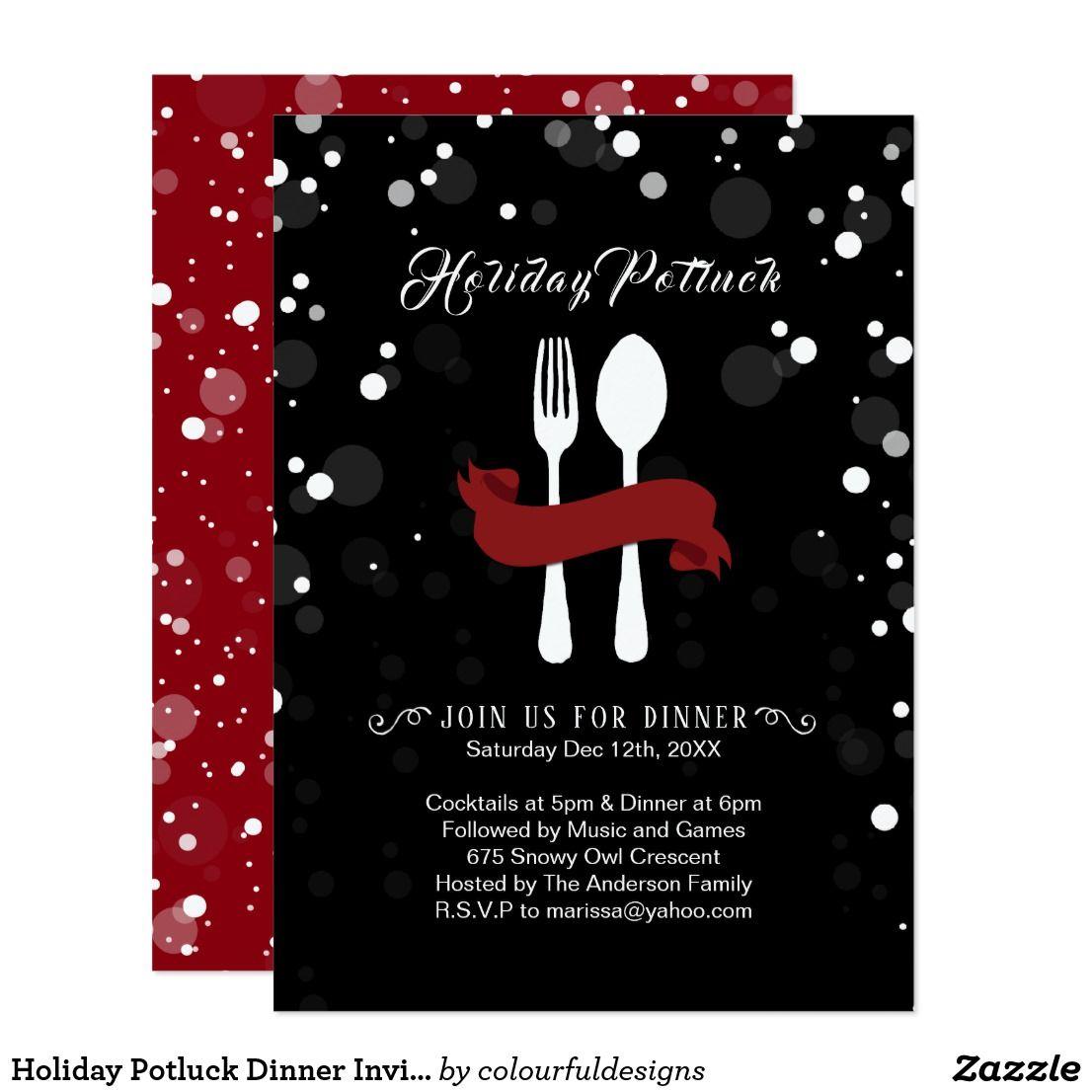 Holiday Potluck Dinner Invitation   Christmas Party Invitations ...