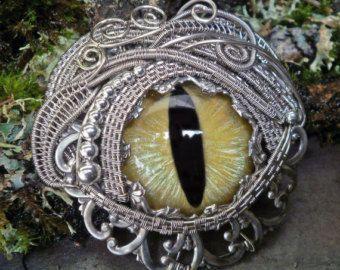 Gothic Steampunk Yellow Pin Pendant Eye