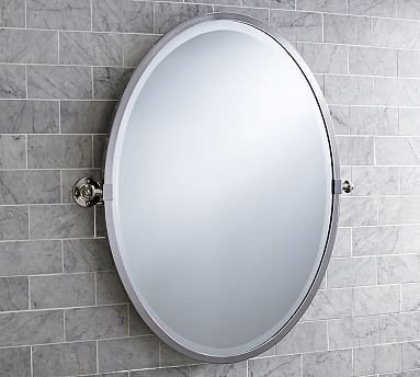 Kensington Pivot Mirror Oval Polished Nickel Finish Decor