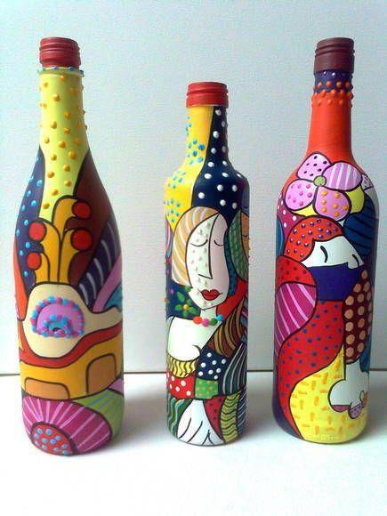 Botellas Pintadas Y Decoradas