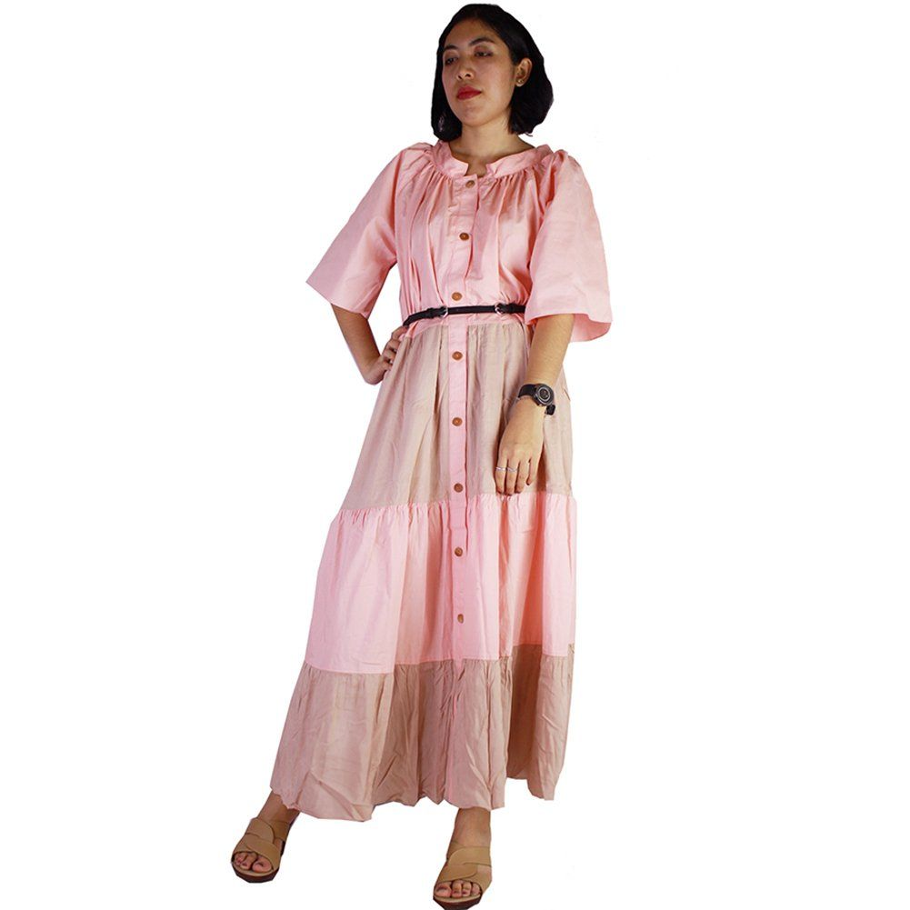 Siamu brown and pink cotton patchwork oversize buttons maxi dress