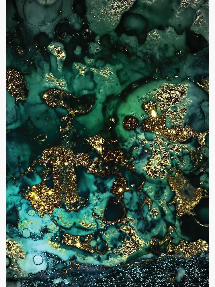 'Green & Gold Marble' Canvas Print by sassypastels