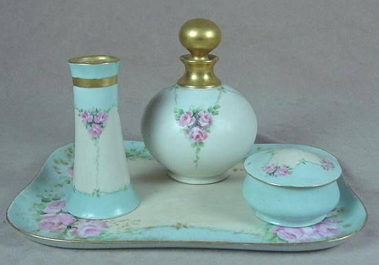 Beautiful Limoges dressing table set with hat pin holder, perfume bottle & trinket box