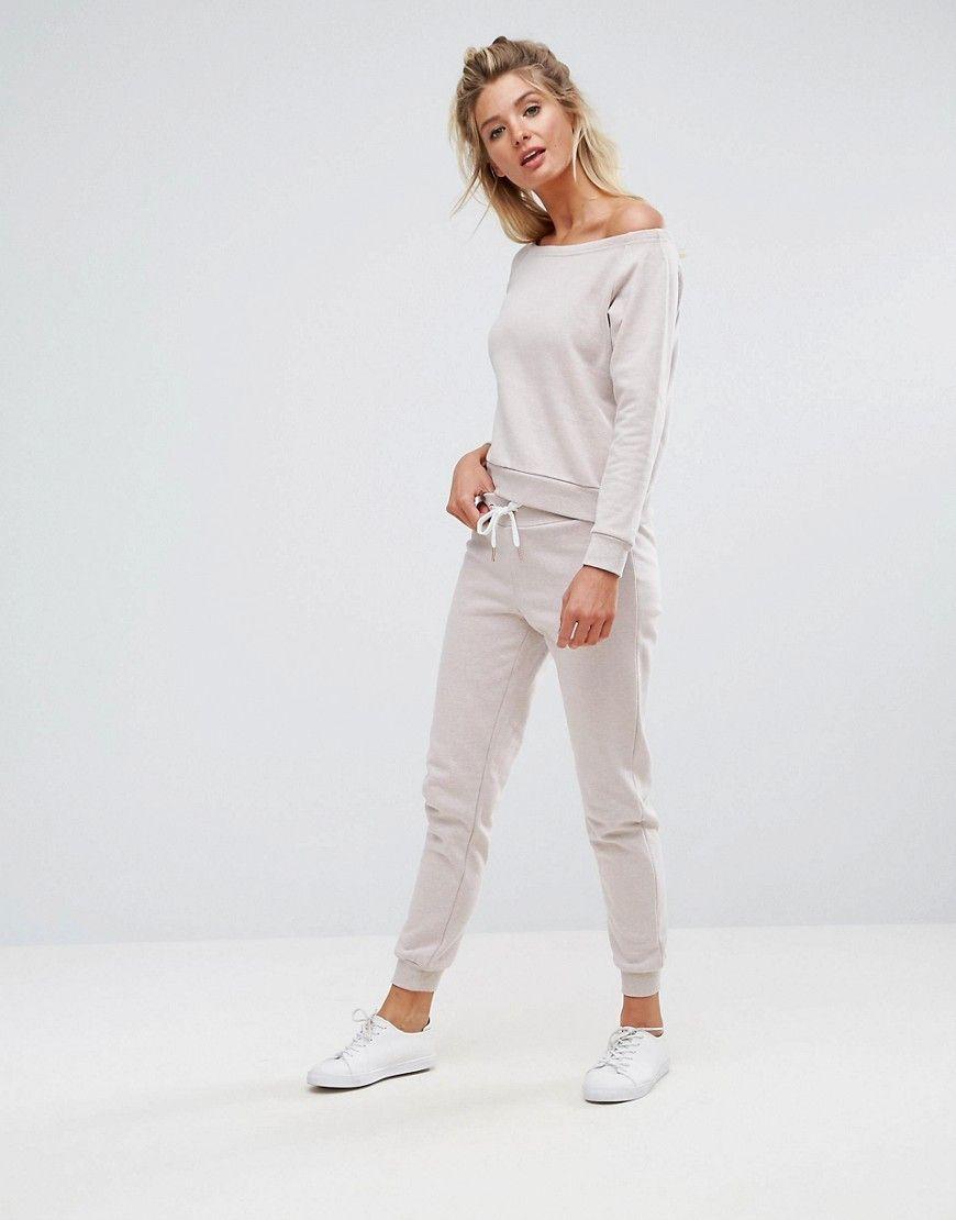Joggers Color Crema De South Beach Pantalones Chándal