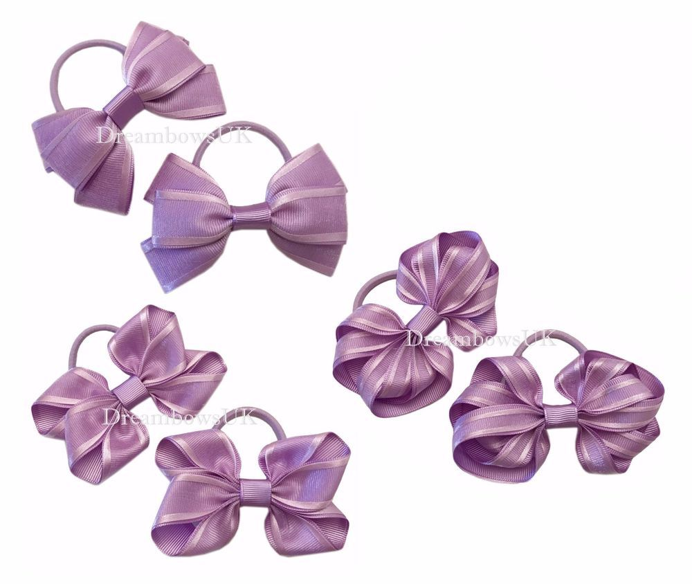 hair ties Lilac organza hair bows//accessories bow thick hair bobbles//elastics
