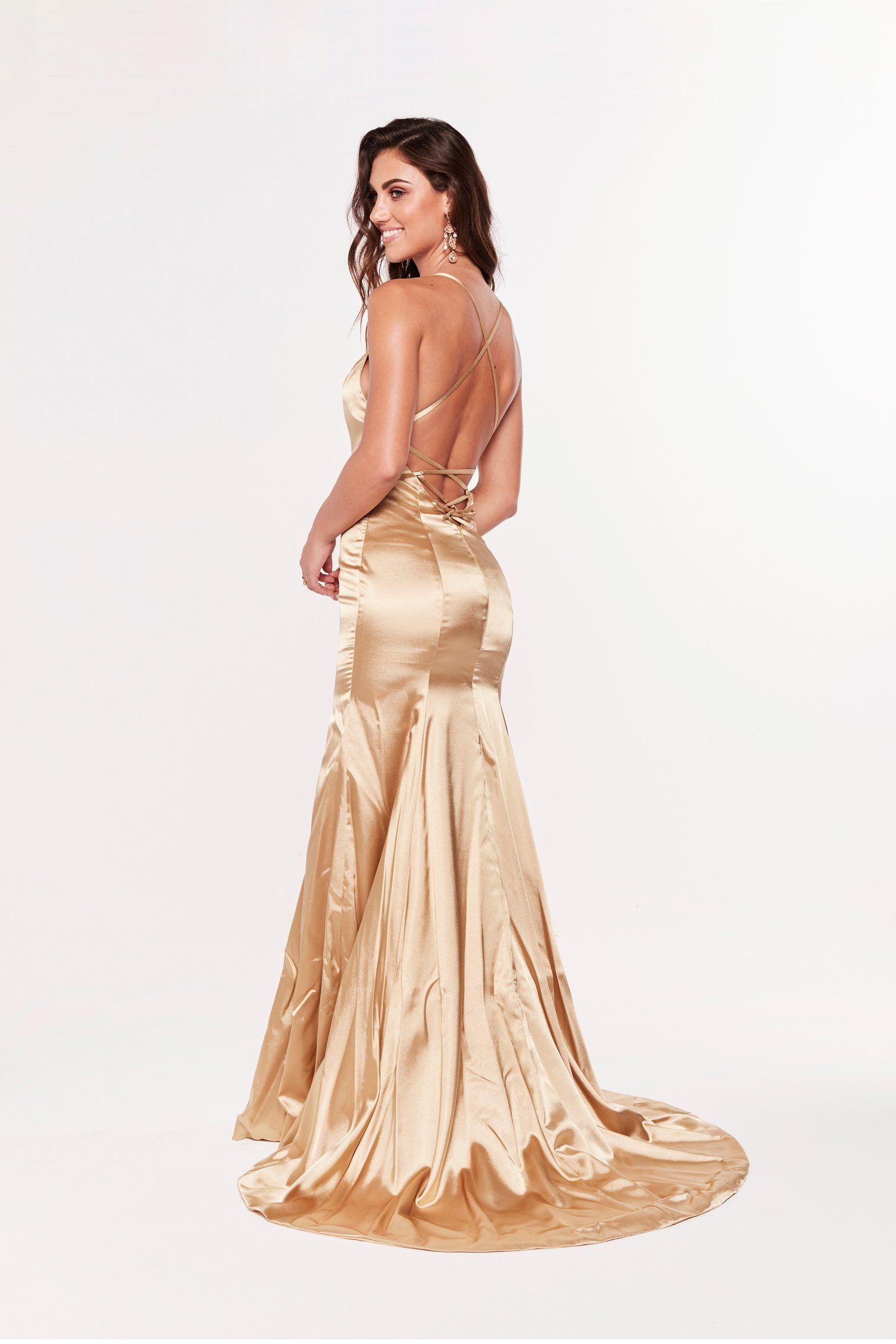 Gold Satin Prom Dress Vestidos Roupas [ 2250 x 1500 Pixel ]