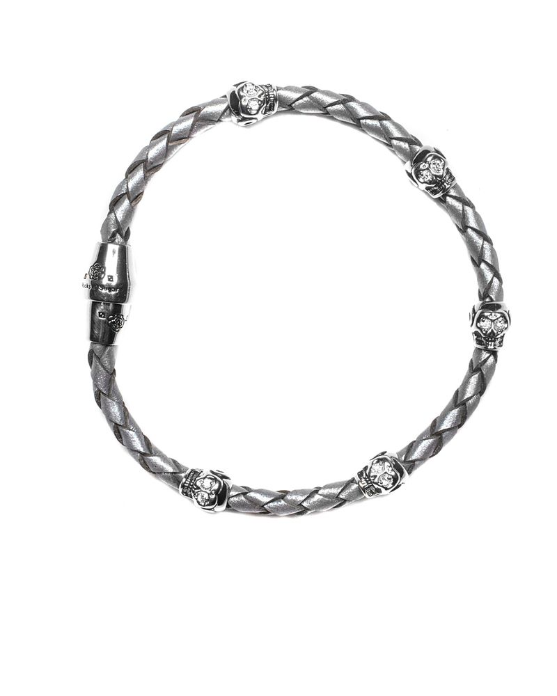 Metallic Grey Fortuna Single Leather Bracelet