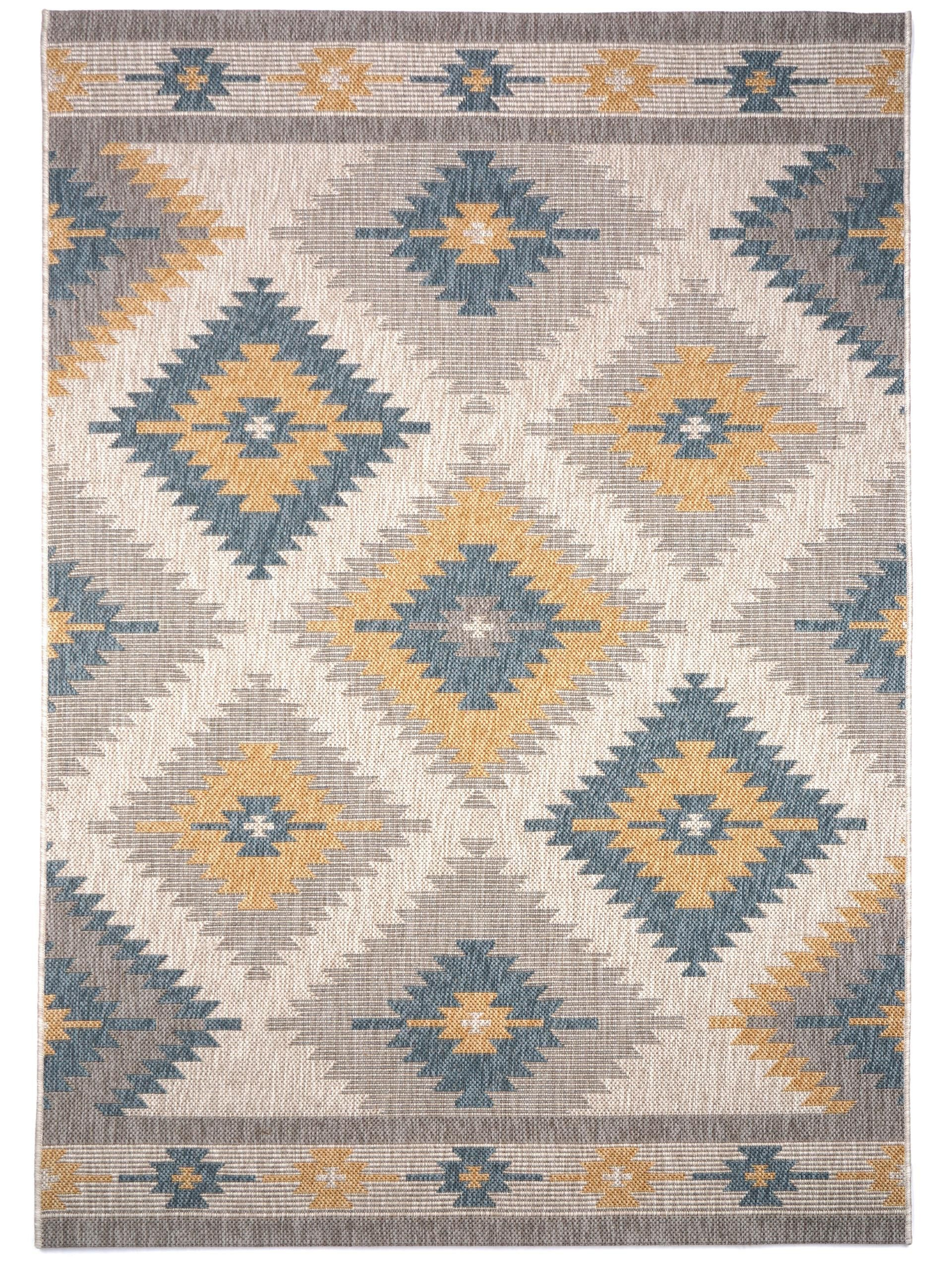 In & Outdoor Teppich Capri Kilim Blau