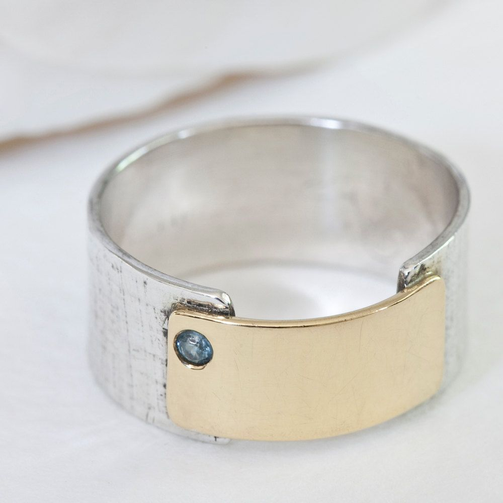 Sterling silver and k gold papyrus ring with blue zircon