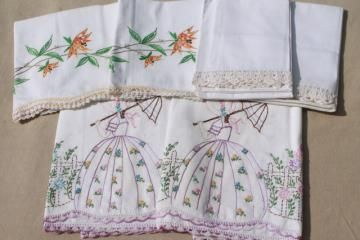 lot vintage fancywork pillowcases w/ embroidered flower garden lady, crochet lace edging