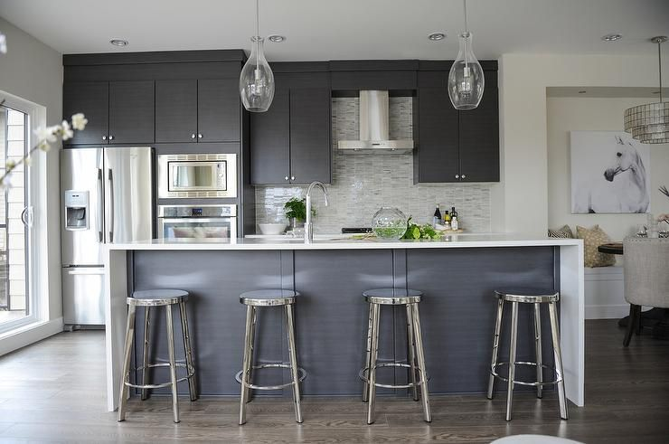 Best Modern Gray Kitchen Features Dark Gray Flat Front Cabinets 640 x 480