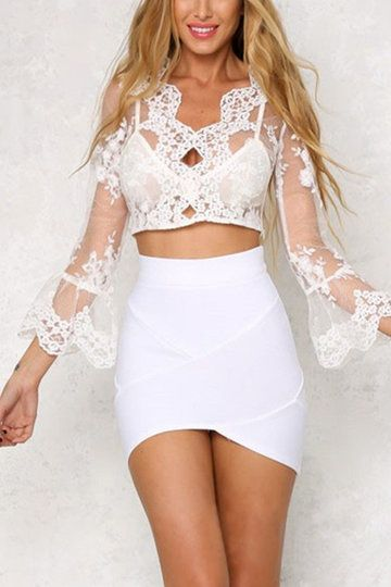1f66a9a88f3 See-through Lace Long Sleeves Crop Top - US$13.95 | YOINS TOPS ...