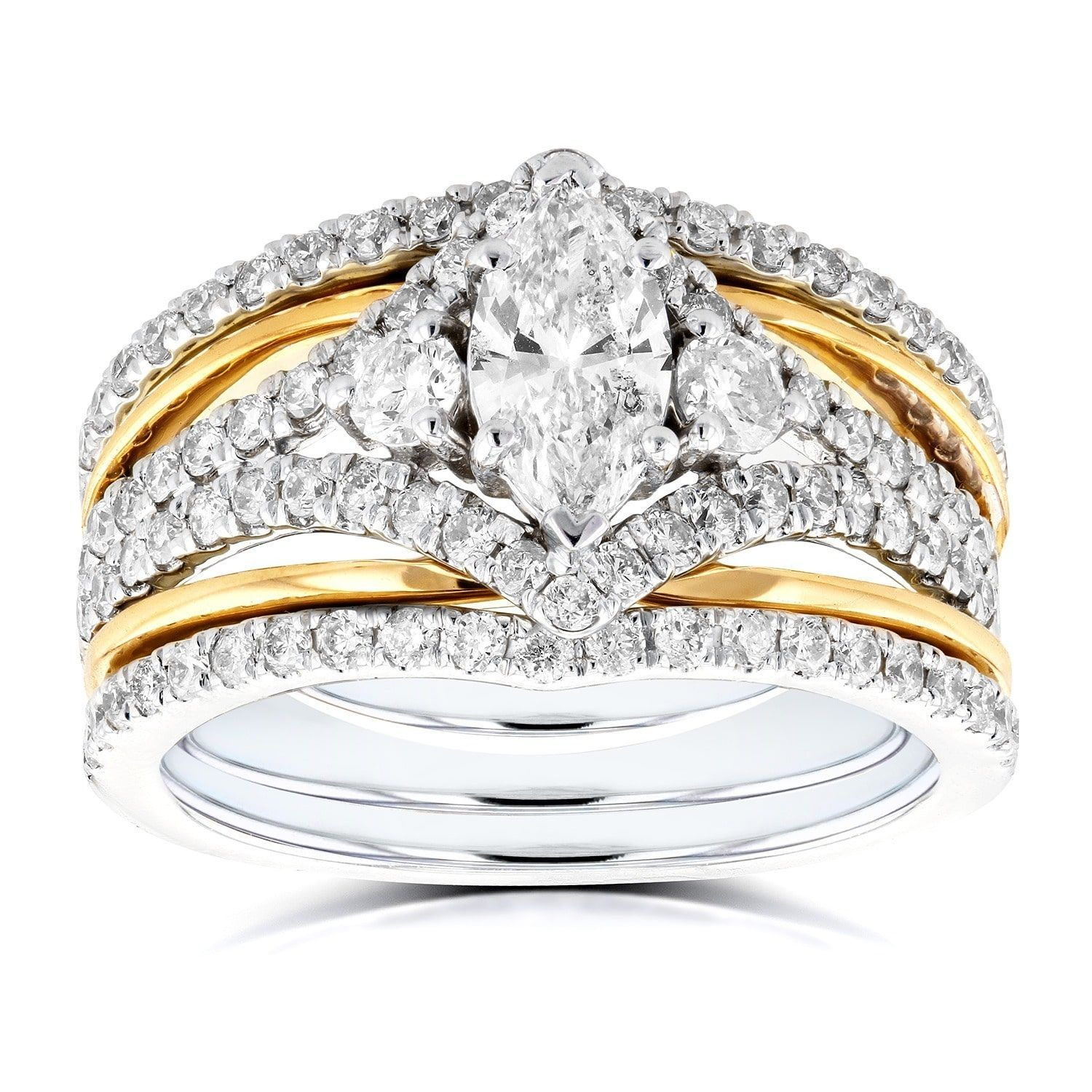 12++ Two tone wedding band sets information