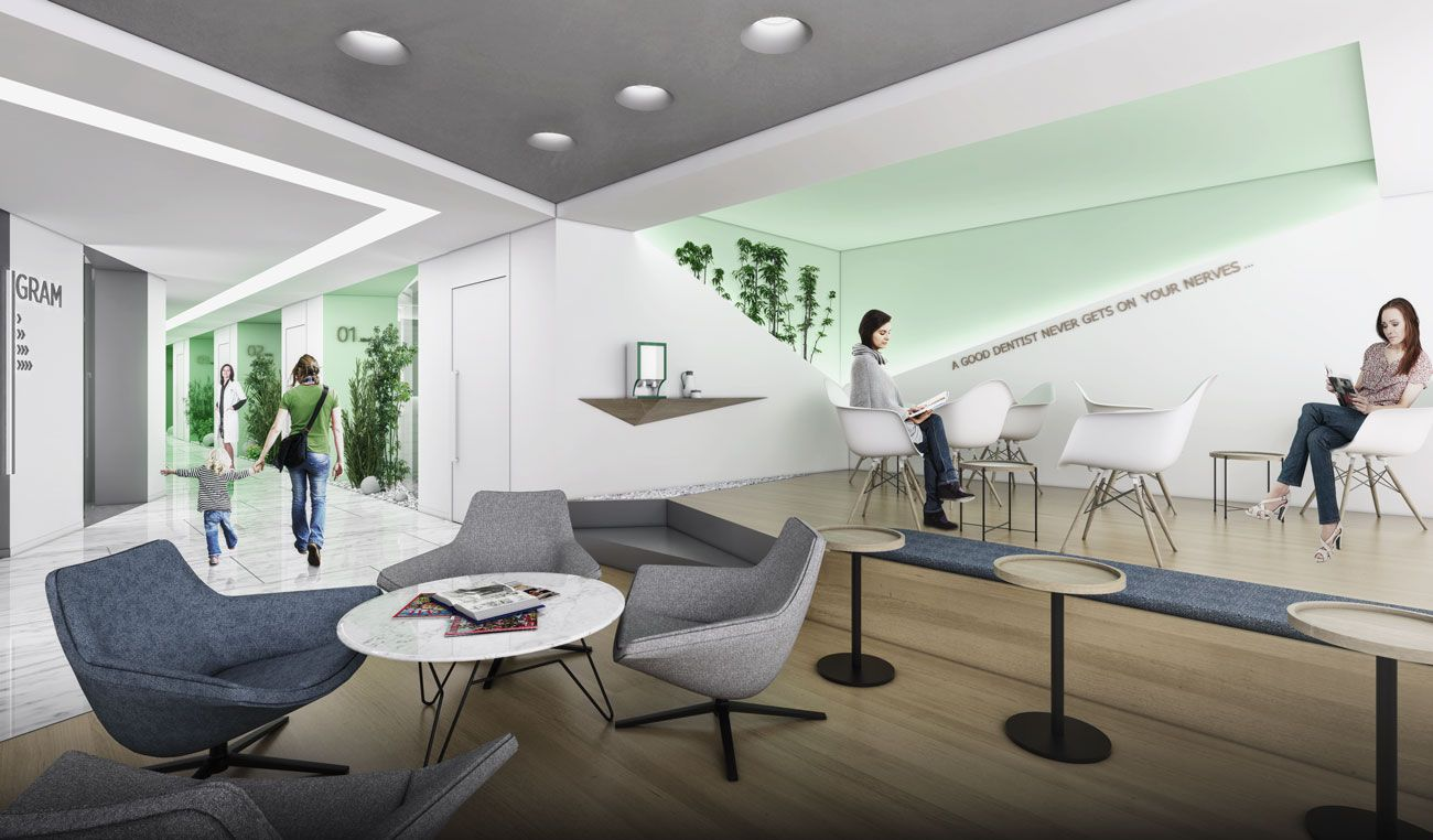 Dentagram Dental Polyclinic interior waiting area #slasharchitects  #dentalclinic #dentist #architecture #interiordesign