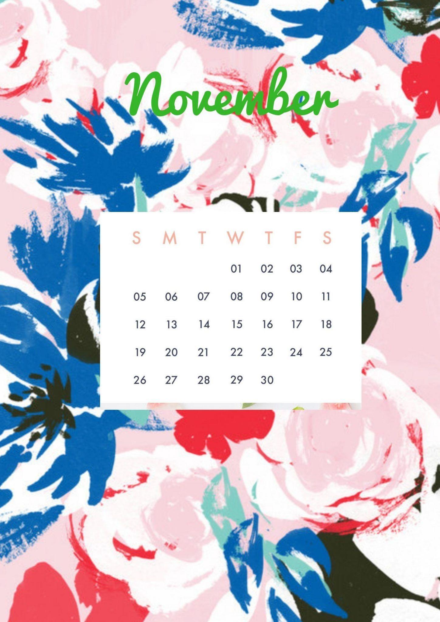 Floral november calendar 2019 cute wallpaper for desktop