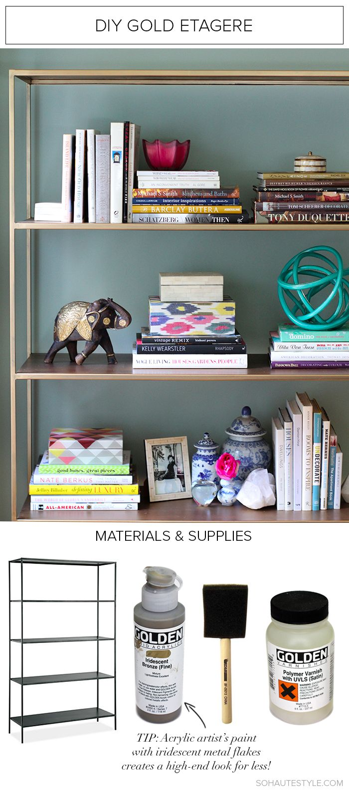 Diy Gold Bookcase Etagere From Sohautestyle Com Home Decor  # Etagere Vintage Plexiglas