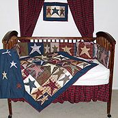 All Star Blue and Red Country Patchwork 6 Piece Crib Set