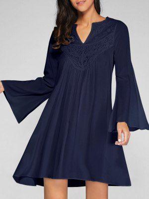 Flare Sleeve Trapeze Dress - Cadetblue