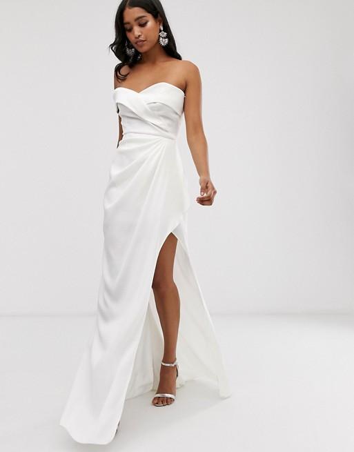Yaura Bardot Maxi Dress With Thigh Split In White Asos Online Wedding Dress Beautiful Bridal Dresses Dresses