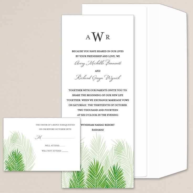 Palm fronds add a tropical feel to this tea length wedding ...