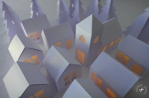 village en papier photophore id es pour la maison pinterest christmas diy paper et diy. Black Bedroom Furniture Sets. Home Design Ideas
