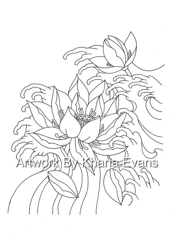 Japanese Lotus Flower Tattoo Design PDF A4 Printout ...
