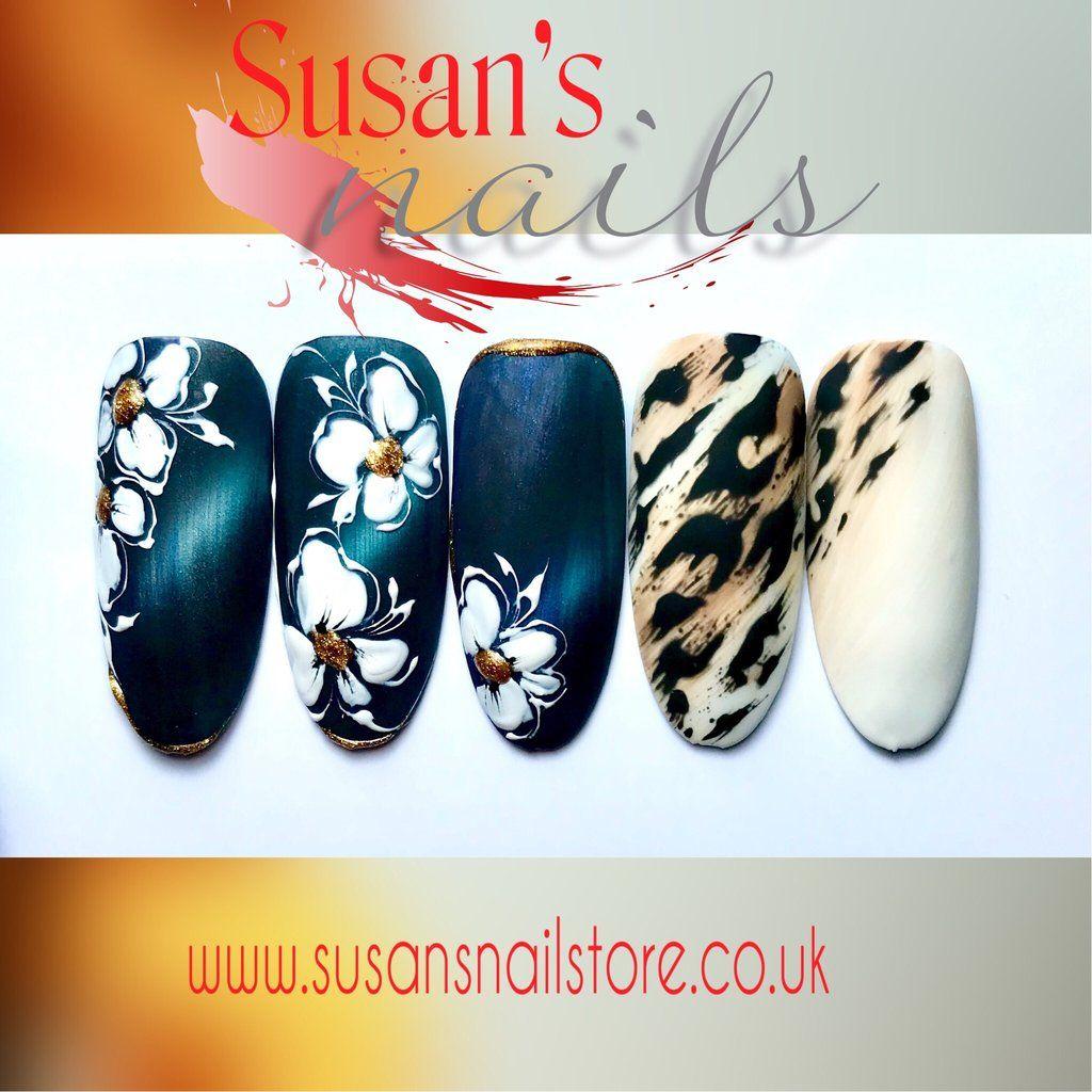 Freehand Painting Nail Art Salon Style Cateye Flowers
