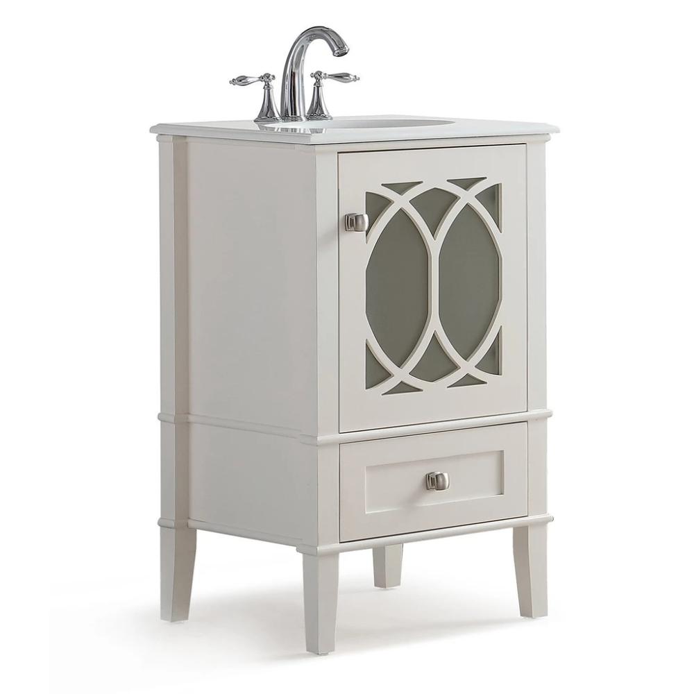 Paige 20 Inch Bath Vanity With White Engineered Quartz Marble Top Marble Vanity Tops Bath Vanities Simpli Home