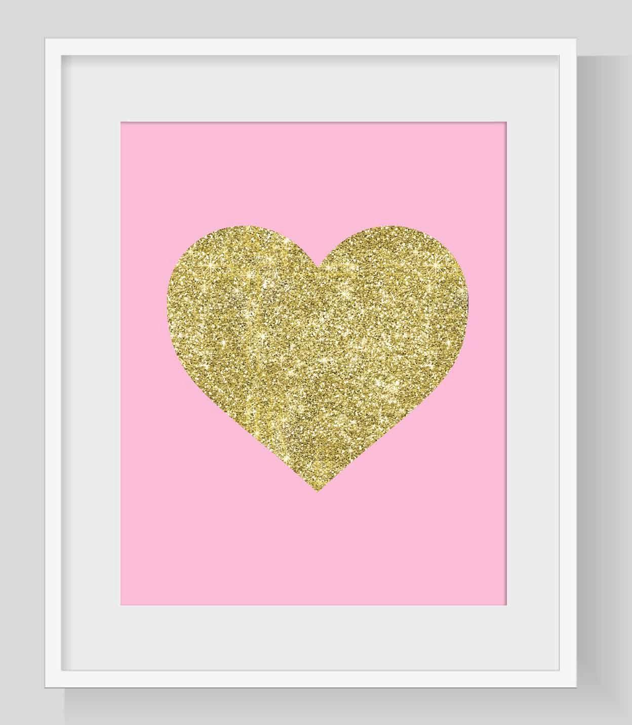 Glitter Heart print, Heart print, Heart printable, Heart wall art ...