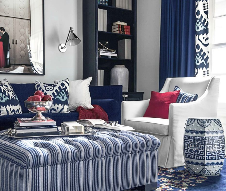 Blue And Red Living Room