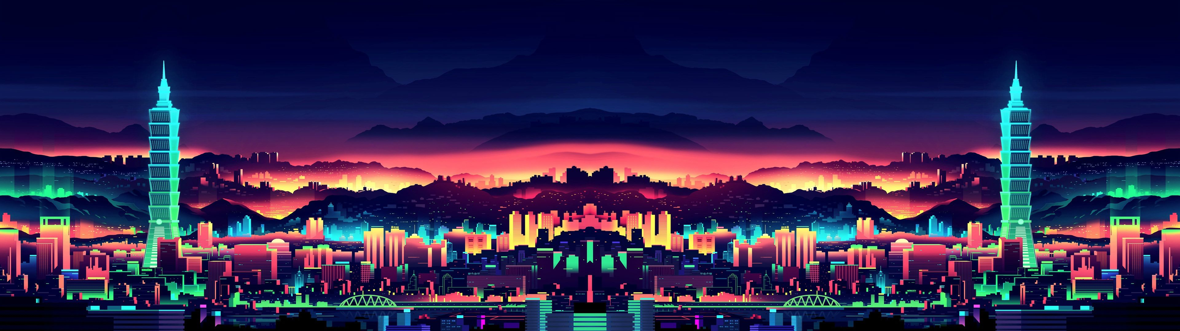 Neon city 3840x1080 wallpaper (1920x1080 versions included) | Reddit HD Wallpapers | Pinterest